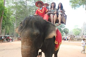 Shanghai students on elephant - Pepperdine University