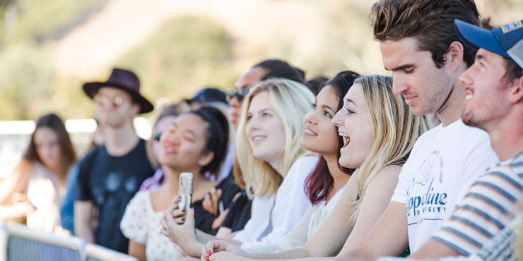 Students are smile at Waves Weekend, Concert in the Park - Pepperdine University