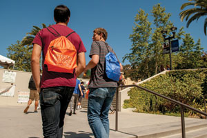 Students with tote bags walk up the stairs - Pepperdine University