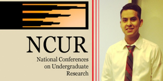 Freddy Vasquez presents research at the National Conference on Undergraduate Research - Pepperdine University