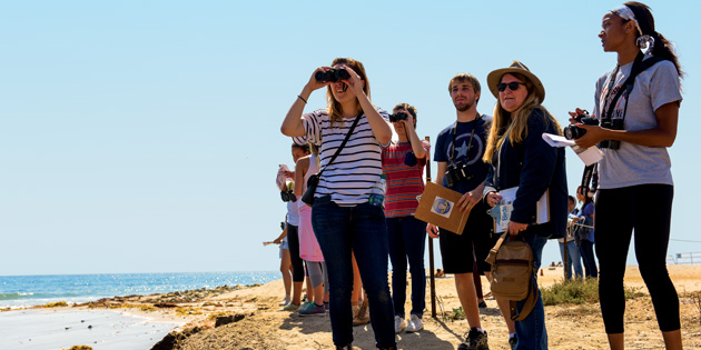 Students look through binoculars at the beach - Pepperdine University