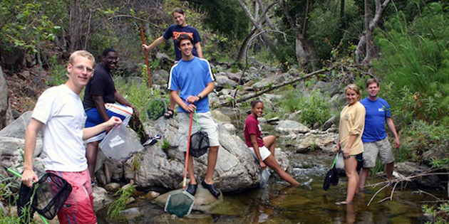 Students conduct research on a lake - Pepperdine University