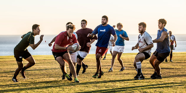 The Department of Campus Recreation team plays football - Pepperdine University