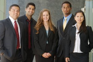 Graziadio School of Business and Management (GSBM)  students in suits - Pepperdine University