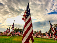 Waves of Flags on the school lawn - Pepperdine University