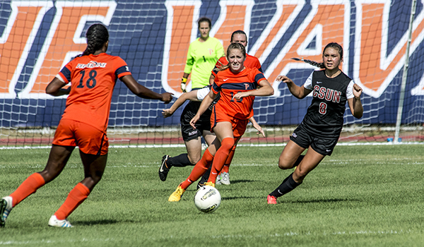 Pepperdine Women's soccer team competing against opposing team.