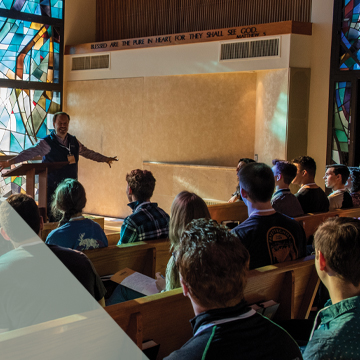 Students sit in Stauffer Chapel for a sermon.