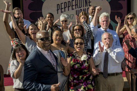 Faculty and staff celebrate at the Pepperdine Honors awards ceremony in the fall of 2017