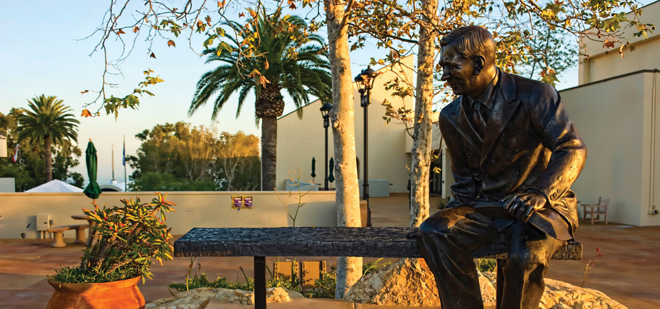 A statue of George Pepperdine - Pepperdine University