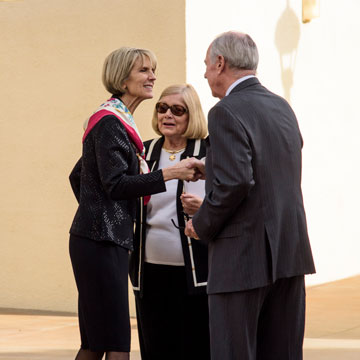 giving chancellor with donors