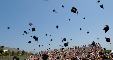Graduation caps in the air - Pepperdine University