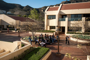 Students walk through the outdoor Malibu campus - Pepperdine University