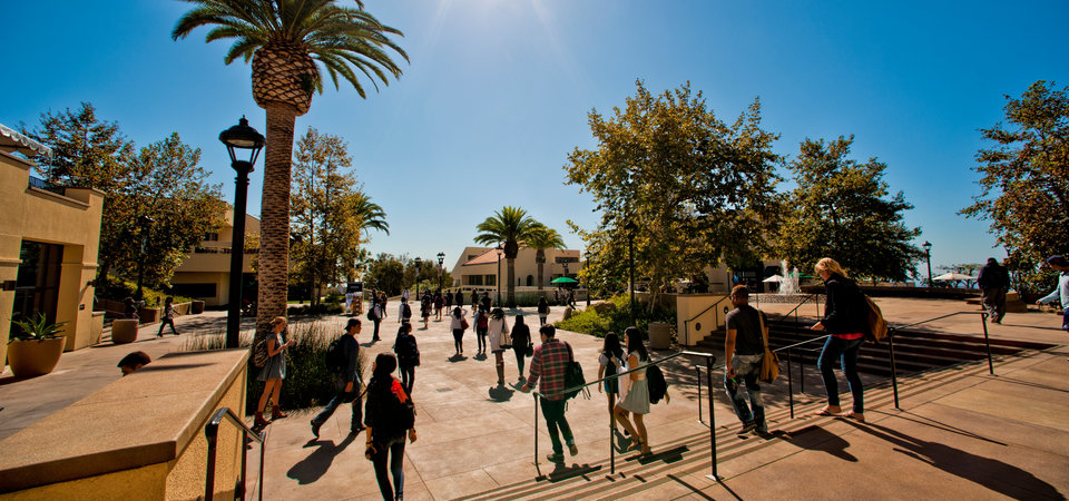 Students walking on campus - Pepperdine University
