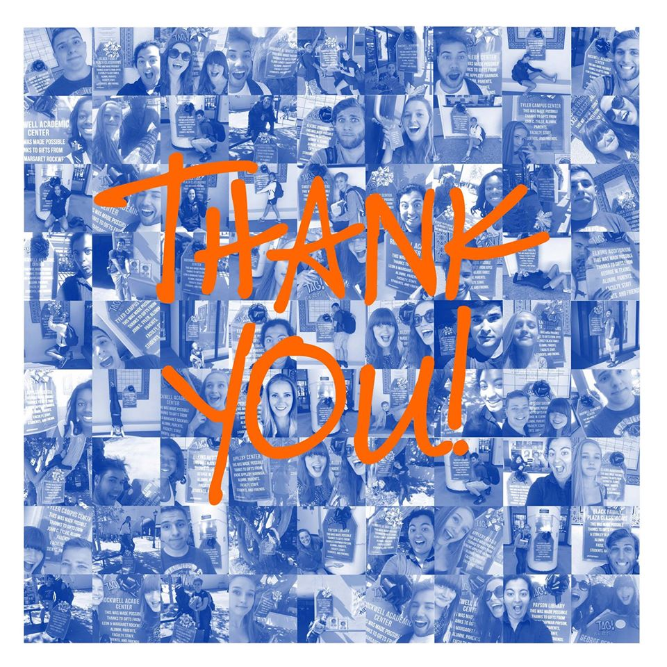 "A collage of student donors with the words ""THANK YOU!"" placed over it - Pepperdine University"