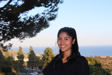 Student ambassador Dania Ashraf pictured on Seaver's Malibu campus