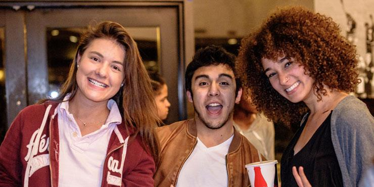 International students celebrating at an event