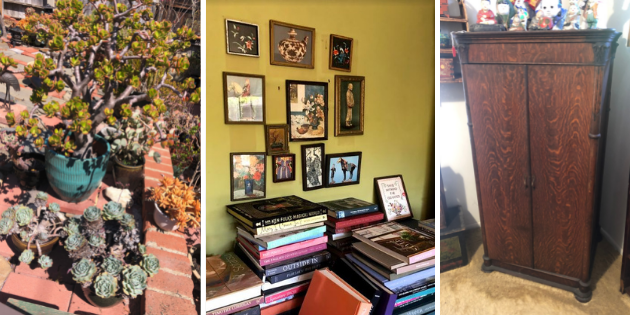 Plants, books, and wooden armoire for Pepperdine Legacy Partner's estate sale