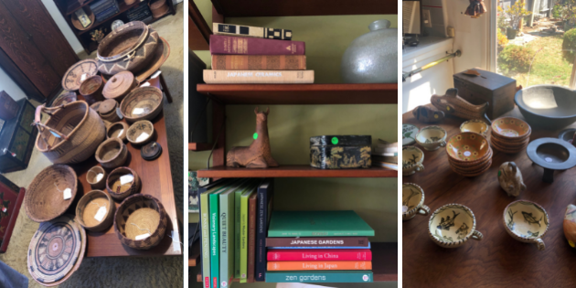 Pottery, books, and curios for Pepperdine Legacy Partner's estate sale