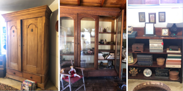 Wooden furnishings, books, and curios for Pepperdine Legacy Partner's estate sale