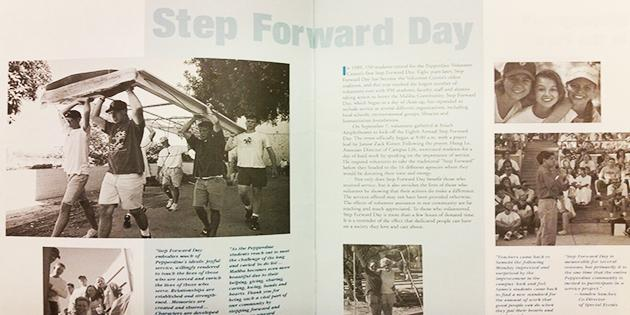 A yearbook article about Pepperdine University's Step Forward Day