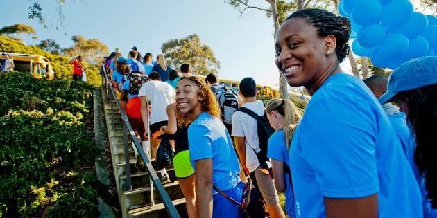 Students walking up an outdoor staircase during Pepperdine University's Step Forward Day