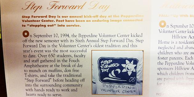 A printed article about Pepperdine University's Step Forward Day