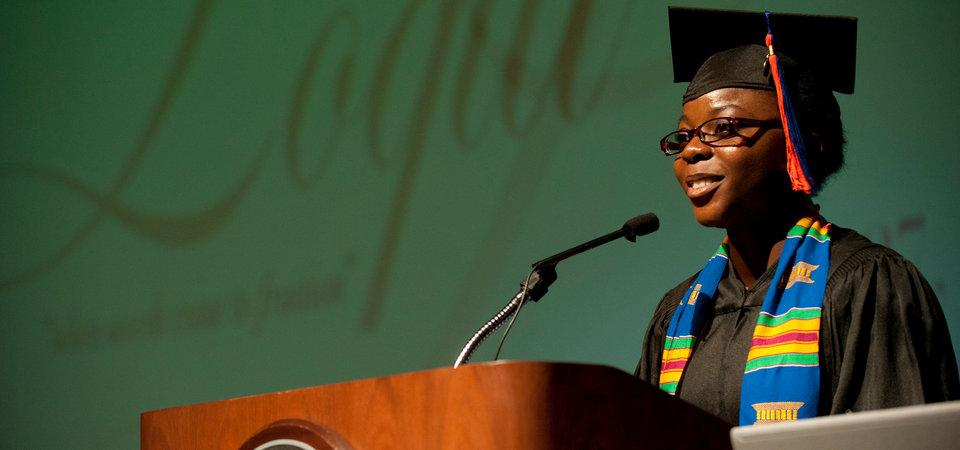 African American woman speaking at Pepperdine