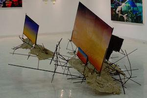 Art exhibit with abstract art at Pepperdine