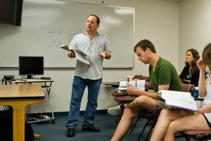 Professor leading classroom discussion