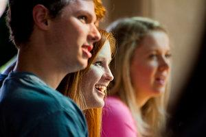 Students in a Pepperdine classroom listening