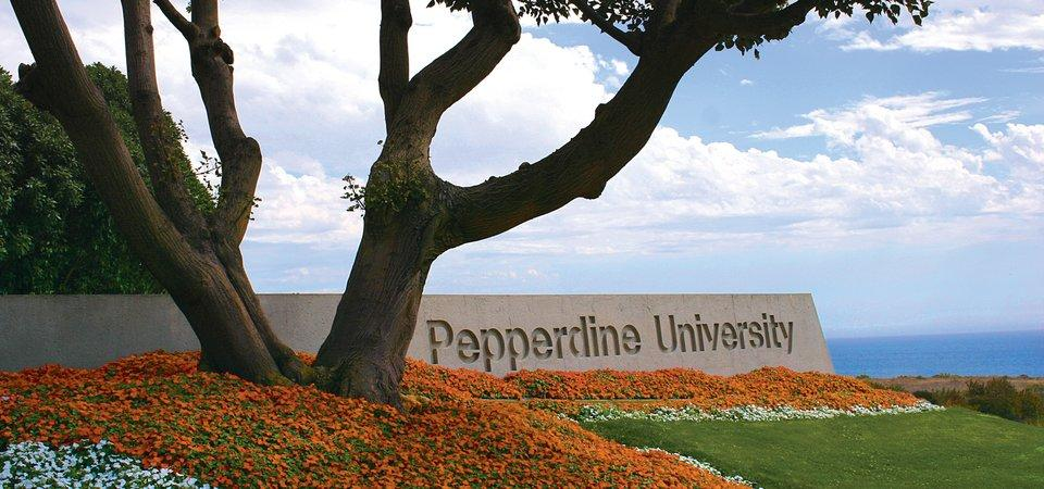 Tree in front of Pepperdine sign