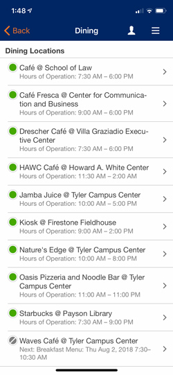 Pepperdine Mobile App Dining Locations