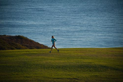 Jogger going across section 2/upper field coastline