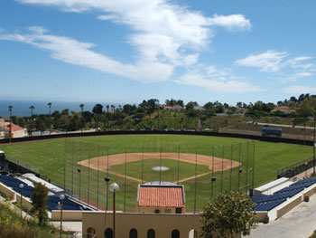 Baseball stadium aerial, toward ocean/west
