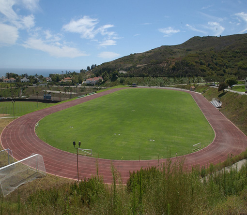 Track/soccer field looking west toward ocean