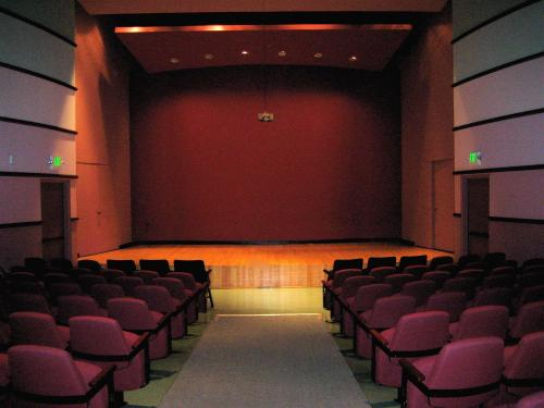 Raitt Recital Hall, facing stage from center aisle
