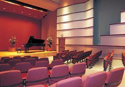 Raitt Recital Hall, grand piano, audience seating