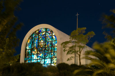 Stauffer Chapel at night - Pepperdine University