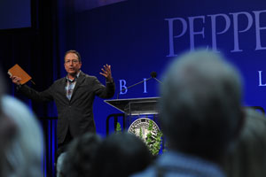 A man gives a presentation during Bible Lectures - Pepperdine University