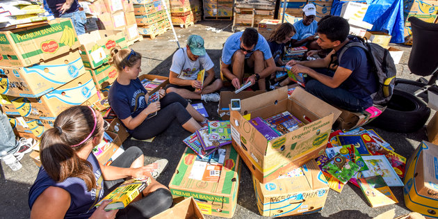 Student service project with children's books - Pepperdine University