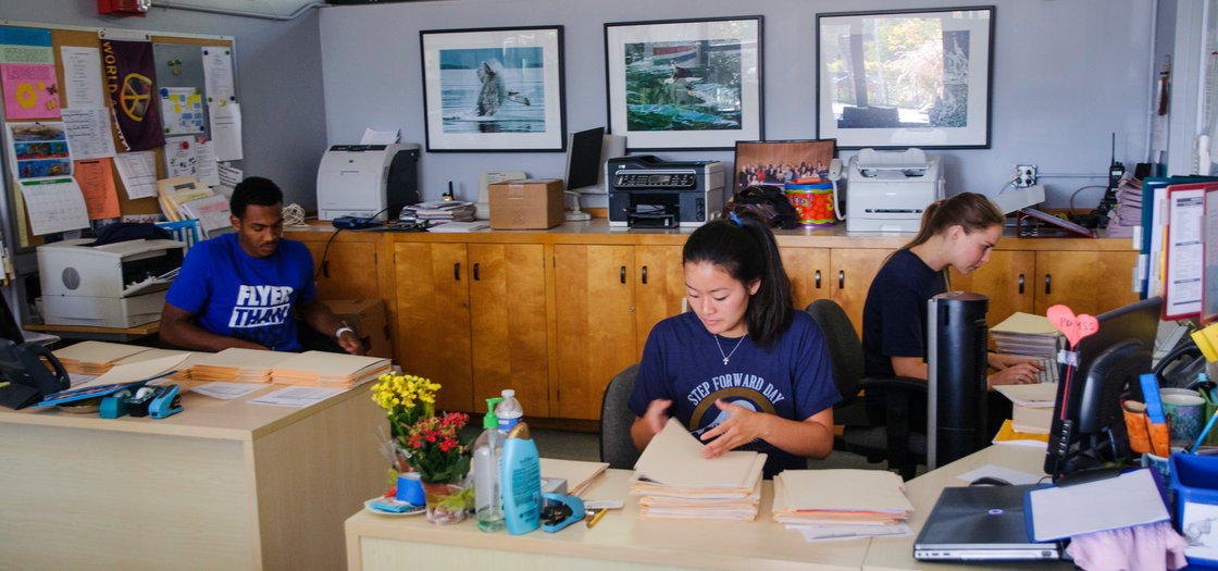 Students working in an office - Pepperdine University