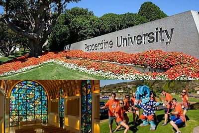 Collage of Pepperdine University campus landmarks