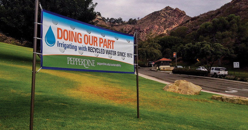 Doing Our Part water recycling banner - Pepperdine University